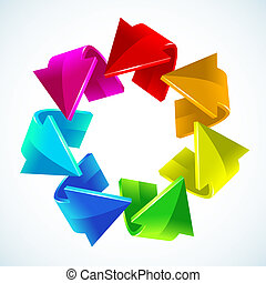 arco irirs, vector, flechas, ilustración