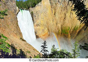 arco irirs, verano, wyoming, cascada, cañón, borde,...