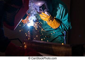 arco, lavori in corso, macchina, metallo, saldatura, usando, elettrico, acciaio