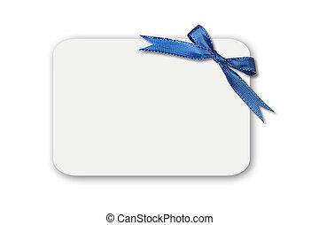 arco, ligado, um, branca, em branco, cartão presente