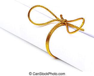 arco, nodo, su, uno, arrotolato, carta
