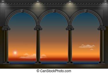 arco, palacio, noche