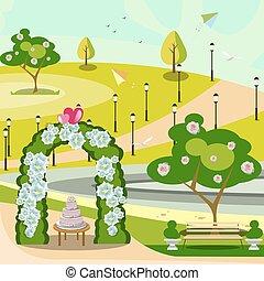 arco, parque, jardim, casório