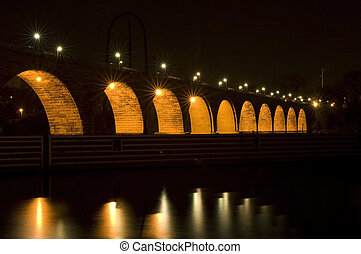 arco pietra, ponte, sotto, luci