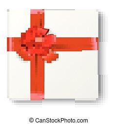 arco presente, realístico, fita vermelha, ícone