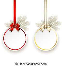 arco presente, vetorial, modelo, cetim, cartão natal
