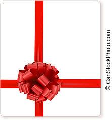 arco regalo, vettore, scheda, nastri, rosso