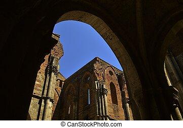 arco, roofless, iglesia