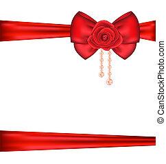 arco rosso, con, rosa, e, perle, per, imballaggio, regalo, valentina, giorno