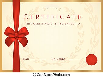 arco rosso, diploma, completion., certificato
