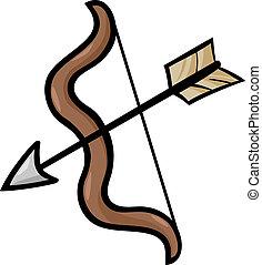 arco seta, corte arte, caricatura, ilustração