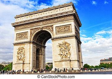 arco triomphe, en, paris., francia