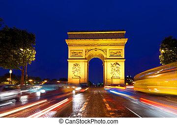 arco triumphal, in, parigi, francia