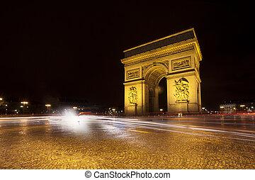 arco triunfal, en, parís, por la noche