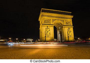 arco triunfo, en, parís, por la noche