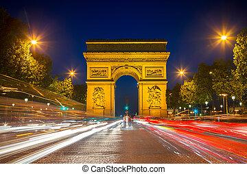 arco triunfo, por la noche