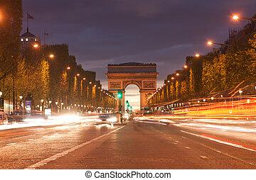 arco triunfo, por la noche, parís, francia