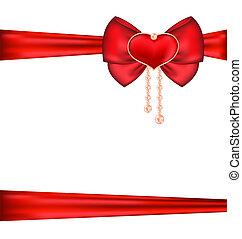 arco vermelho, com, coração, e, pérolas, para, embalagem, presente, valentine, dia