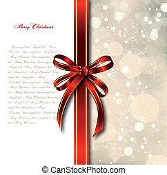arco vermelho, ligado, um, mágico, natal, card., vetorial