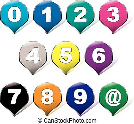 arcobaleno, adesivi, numero