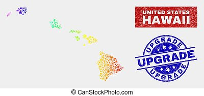 arcobaleno, aggiornamento, colorato, mappa, hawai, sigilli, stato, produzione, afflizione