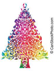 arcobaleno, albero, natale