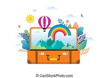 arcobaleno, appartamento, persone, moderno, scena, illustrazione, viaggiare, miniatura, vettore, avventura, valigia, foglie, aperto, style., turismo