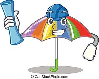 arcobaleno, architetto, ombrello, isolato, mascotte