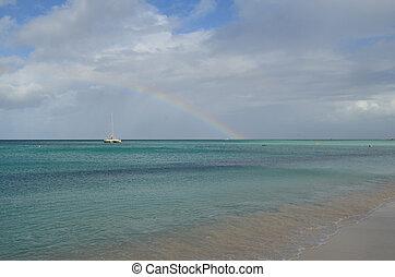 arcobaleno, aruba, barca, orizzonte