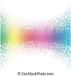 arcobaleno, astratto, concavo, space., vettore, sagoma, bianco, copia, mosaico