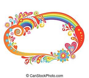 arcobaleno, astratto, cornice, colorito