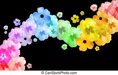 arcobaleno, astratto, fiore, onda
