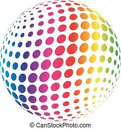 arcobaleno, astratto, sphere., spettro, illustrazione, vettore, fondo, bianco