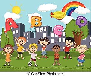 arcobaleno, balloon, parco, bambini, lettera, cartone animato, gioco