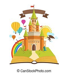 arcobaleno, baloons, albero, libro, nubi, illustrazione, drago, vettore, verde, racconto, sole, fata, castle.