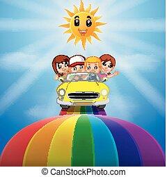 arcobaleno, bambini, attraverso, veicolo, sentiero per cavalcate, passeggero