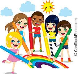 arcobaleno, bambini, disegno