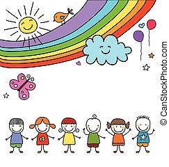 arcobaleno, bambini, gruppo