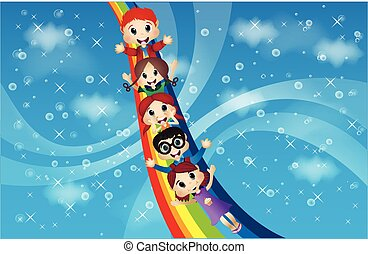 arcobaleno, bambini