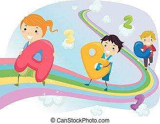 arcobaleno, bambini, stickman, passeggiata