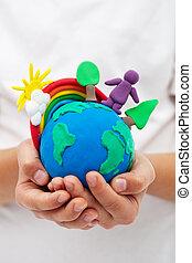 arcobaleno, bambino, argilla, albero, modellatura, mani, Terra