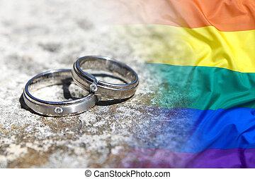 arcobaleno, bandiera, anelli, matrimonio