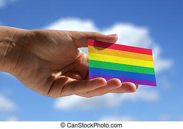 arcobaleno, bandiera, Scheda, Visitare