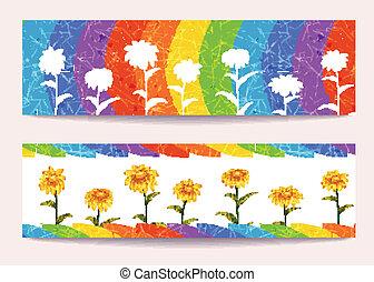 arcobaleno, bandiere, vettore, fiori, fondo