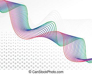 arcobaleno, basato, astratto, linee, illustrazione, onda,...