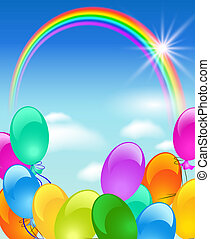 arcobaleno, bolle, sole