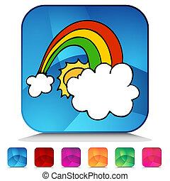 arcobaleno, bottone, set, baluginante, fortunato