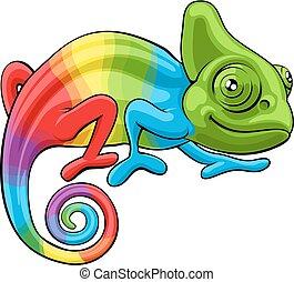 arcobaleno, carattere, cartone animato, camaleonte