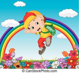 arcobaleno, carino, giardino fiore, ragazzo