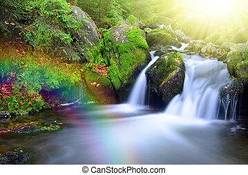 arcobaleno, cascata, insenatura
